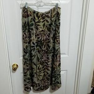 Burnt out velvet skirt